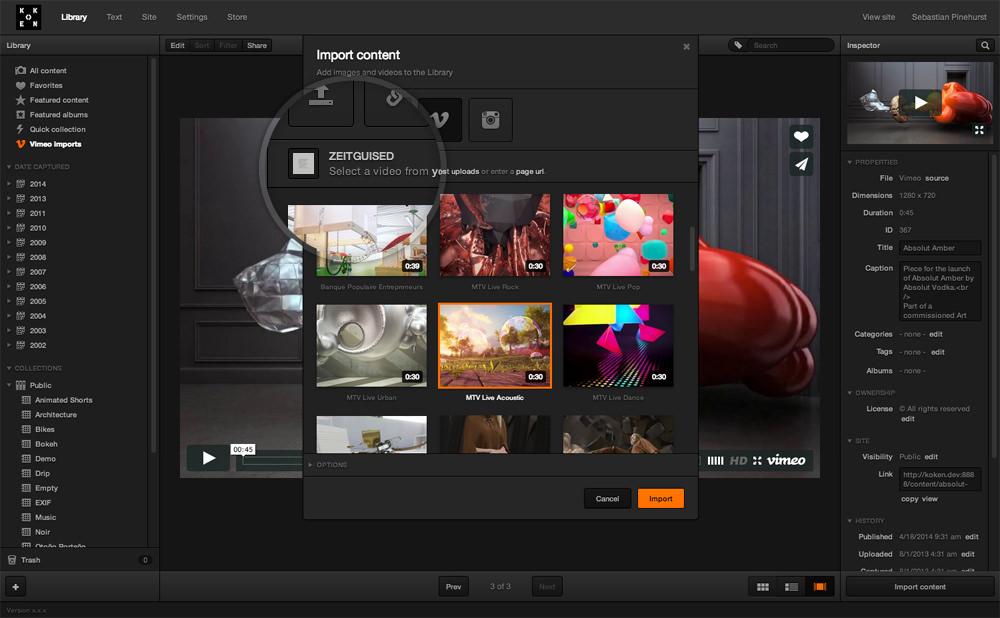 Vimeo Import | Plugin | Koken Store